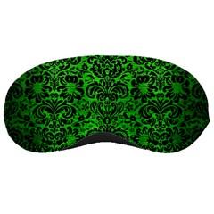 Damask2 Black Marble & Green Brushed Metal (r) Sleeping Masks
