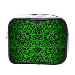 Damask2 Black Marble & Green Brushed Metal (r) Mini Toiletries Bags