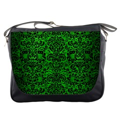 Damask2 Black Marble & Green Brushed Metal (r) Messenger Bags