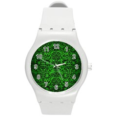 Damask2 Black Marble & Green Brushed Metal (r) Round Plastic Sport Watch (m)
