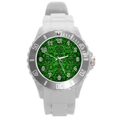 Damask2 Black Marble & Green Brushed Metal (r) Round Plastic Sport Watch (l)