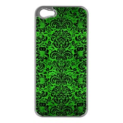 Damask2 Black Marble & Green Brushed Metal (r) Apple Iphone 5 Case (silver)