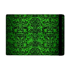 Damask2 Black Marble & Green Brushed Metal (r) Apple Ipad Mini Flip Case