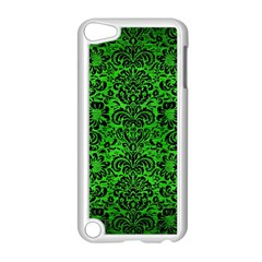 Damask2 Black Marble & Green Brushed Metal (r) Apple Ipod Touch 5 Case (white)