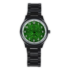 Damask2 Black Marble & Green Brushed Metal (r) Stainless Steel Round Watch