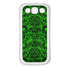 Damask2 Black Marble & Green Brushed Metal (r) Samsung Galaxy S3 Back Case (white)