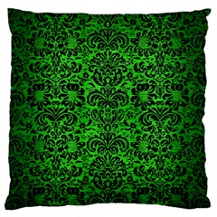 Damask2 Black Marble & Green Brushed Metal (r) Standard Flano Cushion Case (one Side)