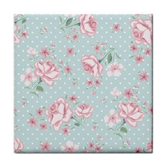 Shabby Chic,pink,roses,polka Dots Tile Coasters