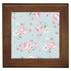Shabby Chic,pink,roses,polka Dots Framed Tiles