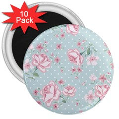 Shabby Chic,pink,roses,polka Dots 3  Magnets (10 Pack)