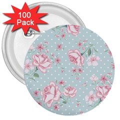 Shabby Chic,pink,roses,polka Dots 3  Buttons (100 Pack)