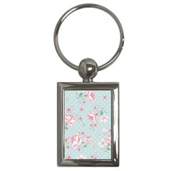 Shabby Chic,pink,roses,polka Dots Key Chains (rectangle)