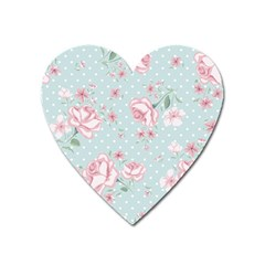Shabby Chic,pink,roses,polka Dots Heart Magnet