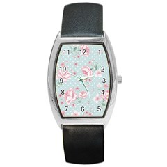 Shabby Chic,pink,roses,polka Dots Barrel Style Metal Watch