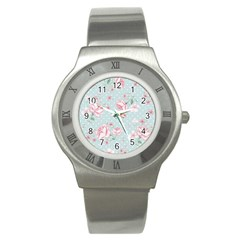 Shabby Chic,pink,roses,polka Dots Stainless Steel Watch