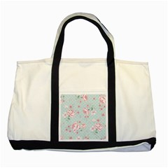 Shabby Chic,pink,roses,polka Dots Two Tone Tote Bag