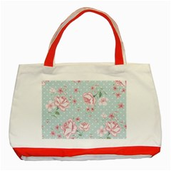 Shabby Chic,pink,roses,polka Dots Classic Tote Bag (red)