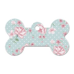 Shabby Chic,pink,roses,polka Dots Dog Tag Bone (one Side)
