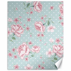 Shabby Chic,pink,roses,polka Dots Canvas 11  X 14