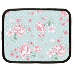 Shabby Chic,pink,roses,polka Dots Netbook Case (large)