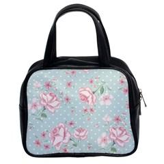 Shabby Chic,pink,roses,polka Dots Classic Handbags (2 Sides)