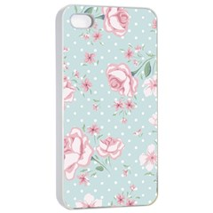 Shabby Chic,pink,roses,polka Dots Apple Iphone 4/4s Seamless Case (white)