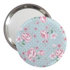 Shabby Chic,pink,roses,polka Dots 3  Handbag Mirrors