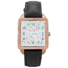 Shabby Chic,pink,roses,polka Dots Rose Gold Leather Watch