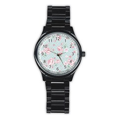 Shabby Chic,pink,roses,polka Dots Stainless Steel Round Watch
