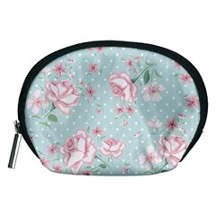 Shabby Chic,pink,roses,polka Dots Accessory Pouches (medium)