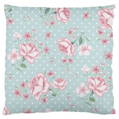 Shabby Chic,pink,roses,polka Dots Large Flano Cushion Case (one Side)
