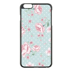 Shabby Chic,pink,roses,polka Dots Apple Iphone 6 Plus/6s Plus Black Enamel Case