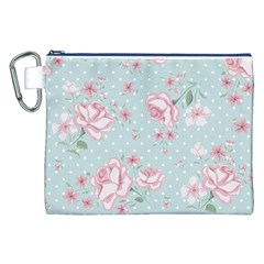 Shabby Chic,pink,roses,polka Dots Canvas Cosmetic Bag (xxl)