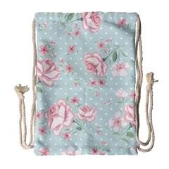 Shabby Chic,pink,roses,polka Dots Drawstring Bag (large)