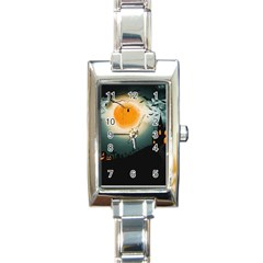 Halloween Landscape Rectangle Italian Charm Watch