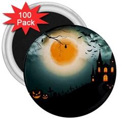 Halloween Landscape 3  Magnets (100 Pack)