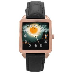Halloween Landscape Rose Gold Leather Watch