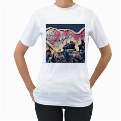 Modern Abstract Painting Women s T Shirt (white) (two Sided)