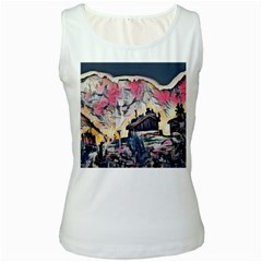Modern Abstract Painting Women s White Tank Top