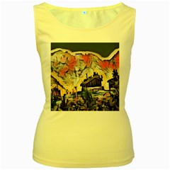 Modern Abstract Painting Women s Yellow Tank Top