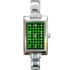 Houndstooth1 Black Marble & Green Brushed Metal Rectangle Italian Charm Watch