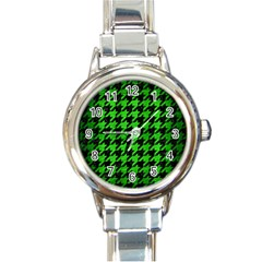 Houndstooth1 Black Marble & Green Brushed Metal Round Italian Charm Watch