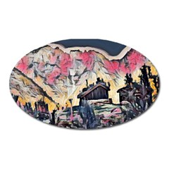 Modern Abstract Painting Oval Magnet