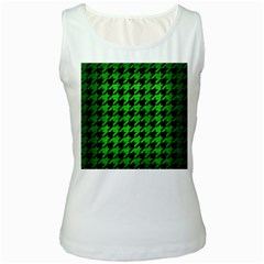 Houndstooth1 Black Marble & Green Brushed Metal Women s White Tank Top