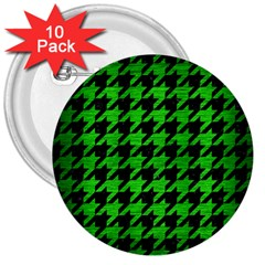Houndstooth1 Black Marble & Green Brushed Metal 3  Buttons (10 Pack)