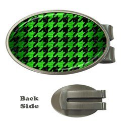 Houndstooth1 Black Marble & Green Brushed Metal Money Clips (oval)