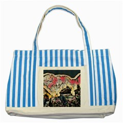 Modern Abstract Painting Striped Blue Tote Bag