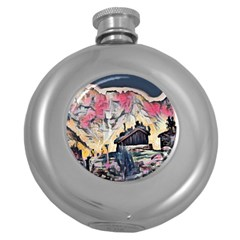 Modern Abstract Painting Round Hip Flask (5 Oz)