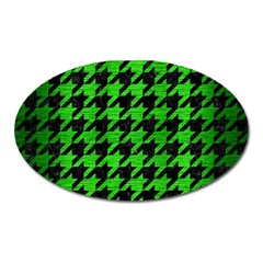 Houndstooth1 Black Marble & Green Brushed Metal Oval Magnet