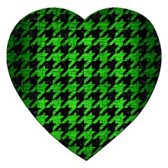 Houndstooth1 Black Marble & Green Brushed Metal Jigsaw Puzzle (heart)